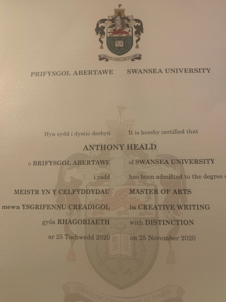 MA Creative Writing  (with Distinction) degree certificate.